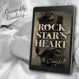 Text: Currently Reading... with image of e-reading device showing the cover of Rock Star's Heart by Kella Campbell
